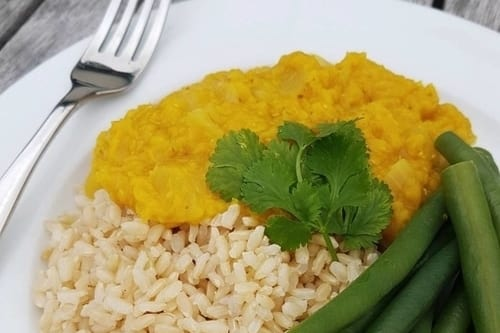 Delicious Dahl curry whole food plant based vegan healthy recipe