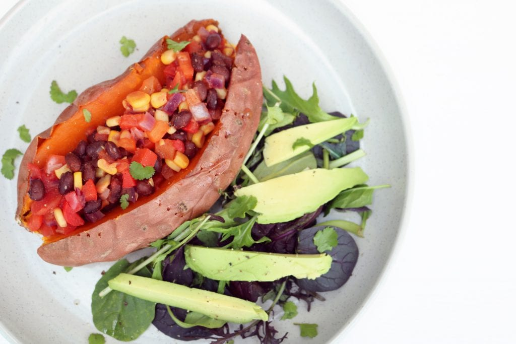 Stuffed Baked Sweet Potato Plant based vegetarian vegan beans avocado recipe